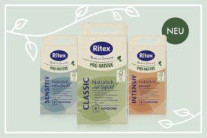 Ritex PRO NATURE Kondomsortiment: Extra feucht, mit Noppen und klassisch.