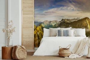 Fototapeten, die den Charakter eines kleinen Schlafzimmers verändern.